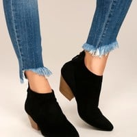 Misha Black Suede Ankle Booties
