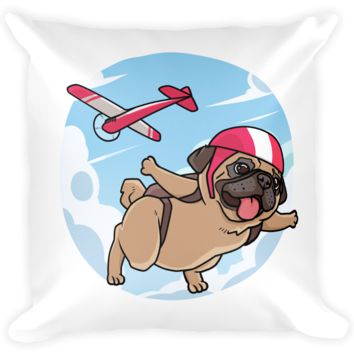 Pug Pillow | Funny Skydiving Dog Cushion | The Jazzy Panda
