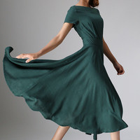 womens Maxi Linen Dress - Green Long Floaty Elegant Flared Dress with Fitted Waist & Short Sleeves 10% sale (971)