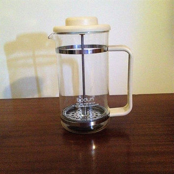 Vintage 1980s Bodum French Press Four (4) Cup Coffee Maker / Bone in Colour / Made in Denmark