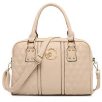 Creme Colored Faux Leather Quilted Satchel with Shoulder Strap