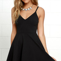 Meet Cute Black Skater Dress