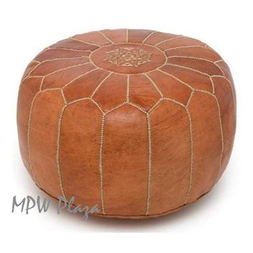 Stuffed Pouf Rustic Brown Moroccan Leather