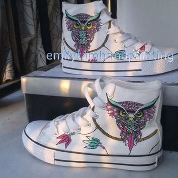 dreamcatcher converse sneakers with owl custom shoes owl and dreamcatcher inspired