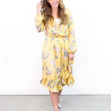 Bree Cross-Front Floral Dress