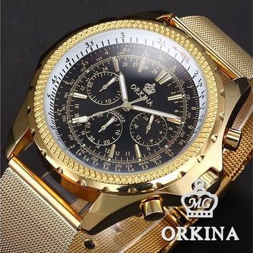 ORKINA Steel Mesh Band 6 Hand Chronograph Golden Black Analog Quartz Men's Gentle Business Dress Wrist Watch