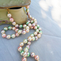 80's Vintage PEARL Necklace Yummy Frosted Pastels Signed Joan Rivers