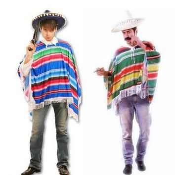 ICIKH6B Hot Halloween cosplay costume masquerade exaggerated color mexican cloak Western Cowboy Clothing Lovers clothes Cowboy scarf