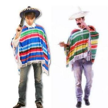 ESB6F Hot Halloween cosplay costume masquerade exaggerated color mexican cloak Western Cowboy Clothing Lovers clothes Cowboy scarf