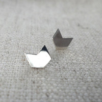 Sterling Silver Chevron Earrings.  Geometric Silver Studs, Arrow Boho Trend.