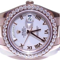 Rolex President Day-Date 41mm 218235 18K Rose Gold 3.20ct White Diamond Watch
