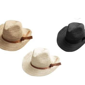 Women's Textured Panama Hat with Band - CASE OF 48