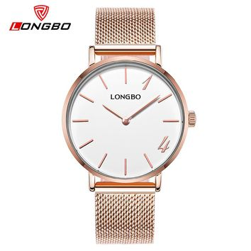 New Simple Fashion Watch Women Luxe Thin Golden Clocks LONGBO Brand Forver Love Quartz Wristwatches Ladies Relogio Feminino 5072