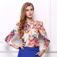 Autumn Women Floral Long-sleeved Shirt