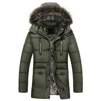 Brand New Men's Parka Winter Thermal Fur Hooded Jacket