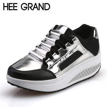 HEE GRAND Silver Platform Shoes Woman Creepers 2017 Autumn Loafers Slip On Casual Women Shoes Round Toe Flats Size 35-40 XWD4285