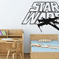 Wall Decals Star Wars X-Wing Star Fighter Decal Vinyl Sticker Home Decor Bedroom Dorm Gym Nursery Art Murals Ms716