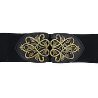 Vintage Design Metal Leaves Buckle Elastic Wide Band Belt Off White