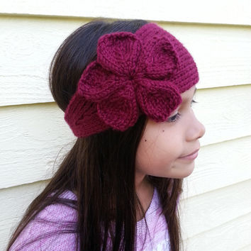 Hand Knit Cozy Flower Headband for Women and Children (8+) Choose from a Variety of Colors