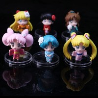 Cartoon Anime Sailor Moon Mars Jupiter Venus Mercury Q Version PVC Action Figure Model Kids Toys Dolls 6pcs/set
