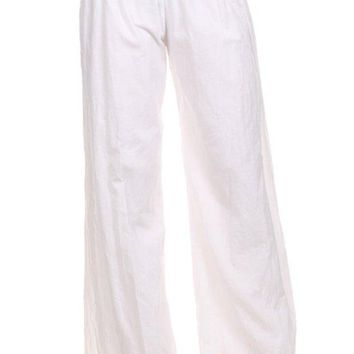 Solid Color High Waisted Full Length Wide Leg Pants with Fold Over Waist Band
