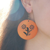 Orange wooden earrings. Nice women jewelry. Christmas in July.