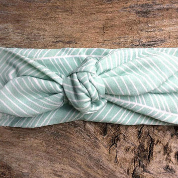 Mint Herringbone Knotted Headband // Baby Headband // Organic Cotton Headband