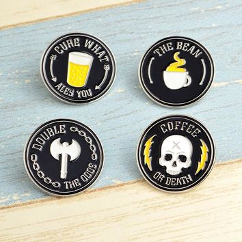 Trendy Coffee or Death Brooches Enamel Pin for Boys Girls Ouija Lapel Pin Hat/bag Pins Denim Jacket Shirt Women Brooch Badge Q272 AT_94_13