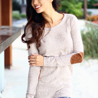 Taupe Sweater With Elbow Patches And Back Buttons