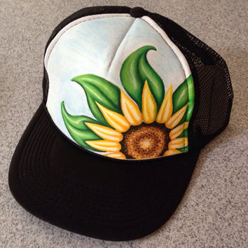 Handpainted Sunflower Trucker Hat