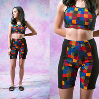vtg 90's checkered shorts, colorful rainbow sports active wear, 1990s vintage american apparel tumblr fashion vaporwave aesthetic
