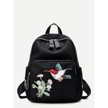 Floral & Bird Embroidered Backpack