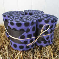Set of 4 Polo Wraps for Horses- Purple and Black Polka Dot Print Fleece