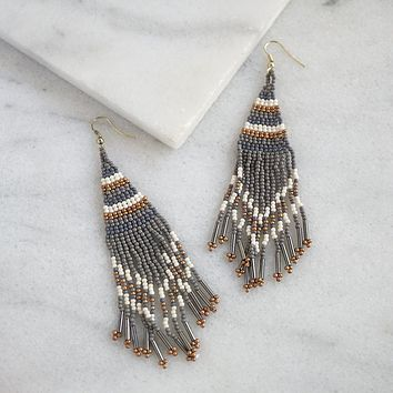 Beaded Fringe Earrings - Gray
