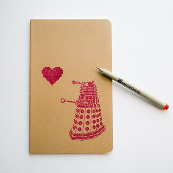 Dalek Love notebook, Doctor Who valentine's day journal, large moleskine
