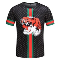 GUCCI Summer Classic Stripe Tiger Head T-Shirt Top Tee