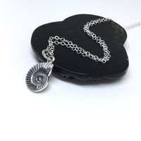 Nautilus Necklace Sterling Silver Nautilus Shell Charm Ammonite Spiral Nautilus Snail Ocean Nautical Silver Necklace Everyday Necklace