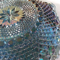 Vintage Iridescent Blue Carnival Glass Tidbit Plate