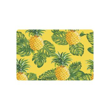 Warm Tour Pineapples and Tropical Leaves Anti-slip Door Mat Home Decor Yellow Indoor Outdoor Entrance Doormat Rubber Backing