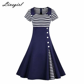 Women Vintage Striped Buttoned Pin Up Dress Summer Retro Party Evening Elegant Rockabilly 1950s Swing Dresses Plus Size 4XL