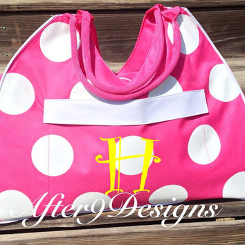 Large personalized monogram beach bag polka by AfterNineDesigns