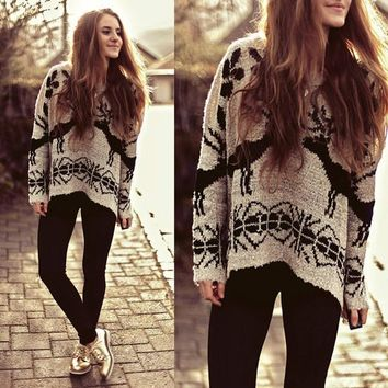 Deer printing bat sleeve Pullovers Tops Sweater