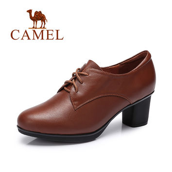 Camel women's pumps cow leather lace-up women oxford high heel A63195606