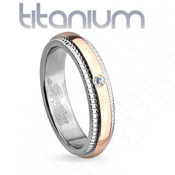 4mm Grooved Step Edge Solitaire CZ Rose Gold IP Titanium Women's Ring Wedding Band