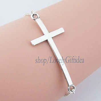 God's blessing Cross bracelet Silver plated cross charm Sideways Cross cuff Bridesmaids bracelet  Wedding everyday jewelry Wholesale retail