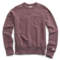 Classic Garment Dyed Pocket Sweatshirt in Crimson