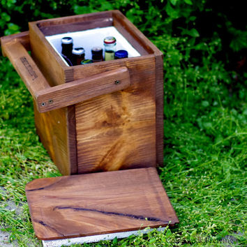 Igloo - Picnic Cooler - Insulated Carton - Wooden Cooler - Beer Cooler - Rustic Wood Igloo