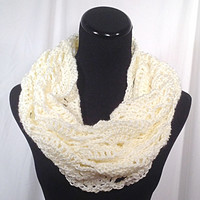 Winter White Triangle Stitch Lace Infinity Crochet Scarf