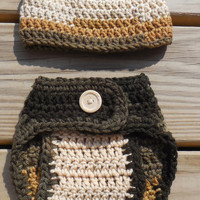 Crochet Diaper Cover and Beanie, Baby Boy Variegated Brown Soaker , Crochet Photo Prop, Brown Tan Cream and Gold