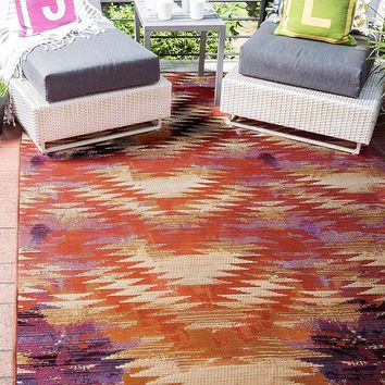 7142 Red Abstract Outdoor Contemporary Area Rugs
